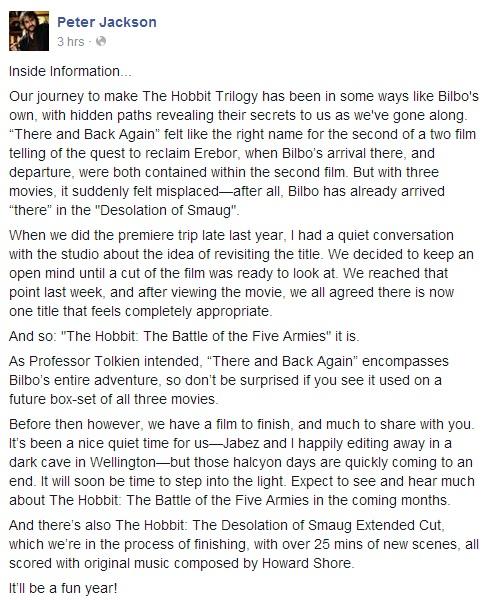 Peter Jackson Hobbit Battle of the Five Armies